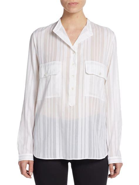 white sheer silk blouses for women stella mccartney sheer striped cotton silk blouse in