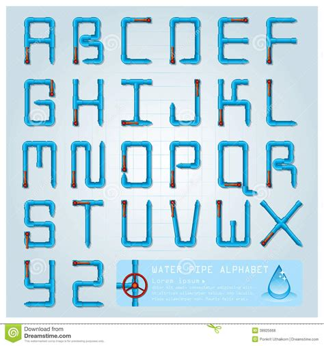 font design water water pipe alphabet font character stock vector image