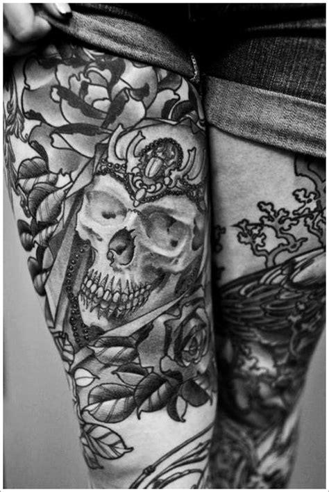 skull tattoo full body 3d full body thigh tattoo skull for women design idea