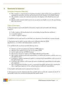Employee Of The Month Criteria Template by Employee Of Month Sle