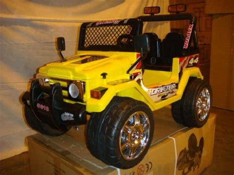 power wheels jeep yellow kt kid battery power ride on raptor wrangler remote