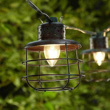 Metal Cage Lantern String Party Lights 81203 Ls Plus Metal Lantern String Lights