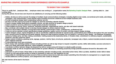 graphic design work experience letters