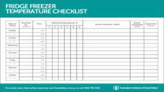 fridge freezer temperature checklist
