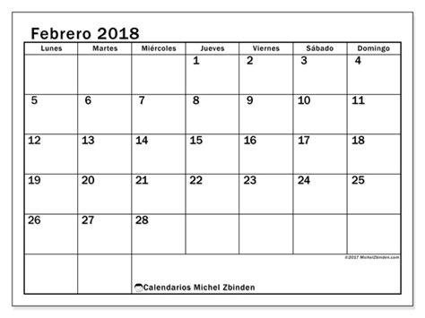 Calendario Mes Calendarios Para Imprimir Febrero 2018 Fecha Mes