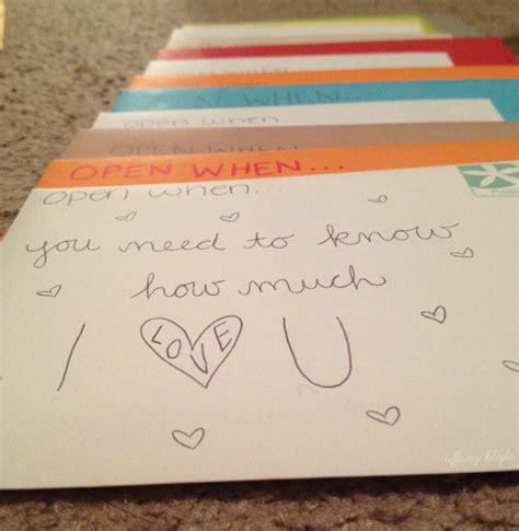 Gift Letter Ideas Quot Open When Quot Letters Endless Bliss