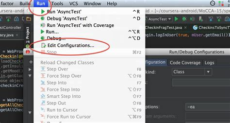android studio unit test tutorial 2015 android studio permanently change debug configuration for