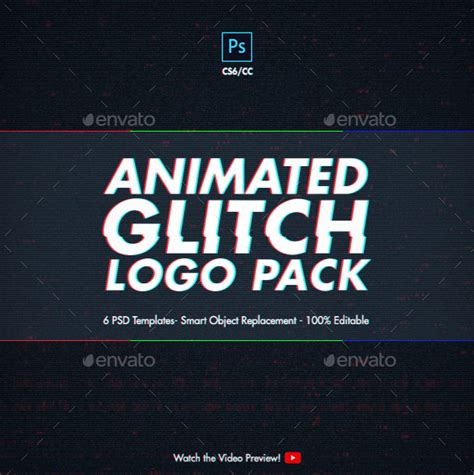 photoshop animation templates animated glitch logo pack photoshop templates by