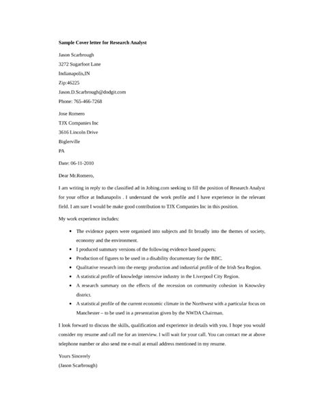 basic research analyst cover letter sles and templates