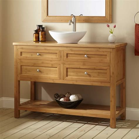 Wood Vanity by Unpolished Oak Wood Freestanding Bathroom Vanity With Open