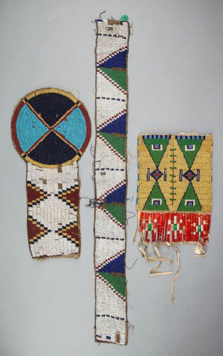 beadwork sioux three sioux beaded hide fragments pipe bag sioux