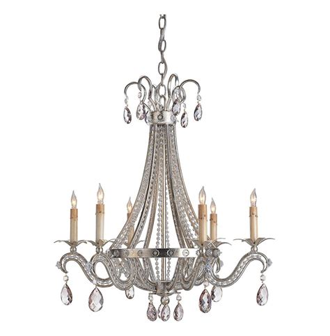 Silver Leaf Chandelier Silver Leaf Regency 6 Light Chandelier Kathy Kuo Home
