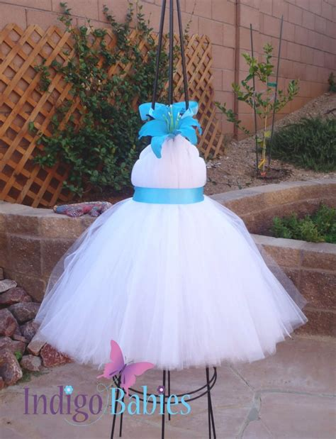 Dress Tutu White Blue Flower 4 6 Th Include Headbandgelangcincin tutu dresses tutu dress flower dress white tulle turquoise blue ribbon blue