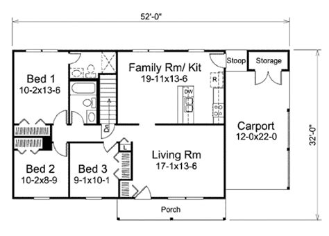 house plan 1761 square feet 57 ft ranch style house plan 3 beds 2 baths 1120 sq ft plan