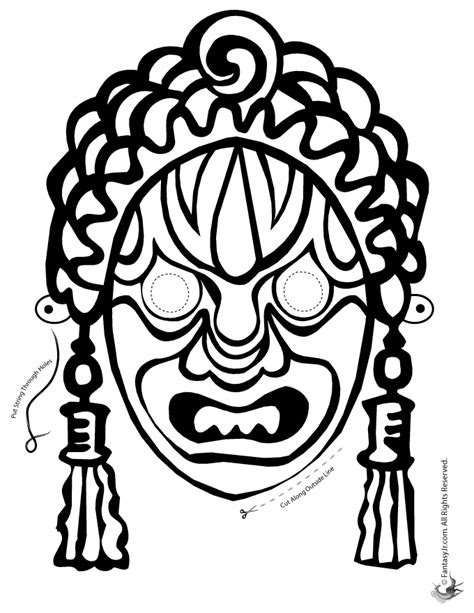 new year mask to color decorative mask coloring page woo jr