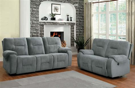 blue grey couch homelegance bensonhurst power reclining sofa set blue