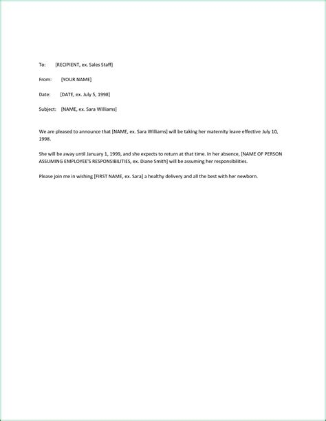 letter of maternity to employer template maternity return to work letter from employer template