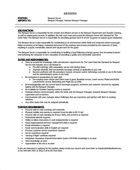 7 Sle Waiter Resume Templates Sle Templates Waitress Resume Template Word