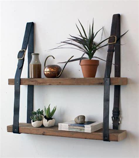 diy hanging shelves with vintage leather belts old