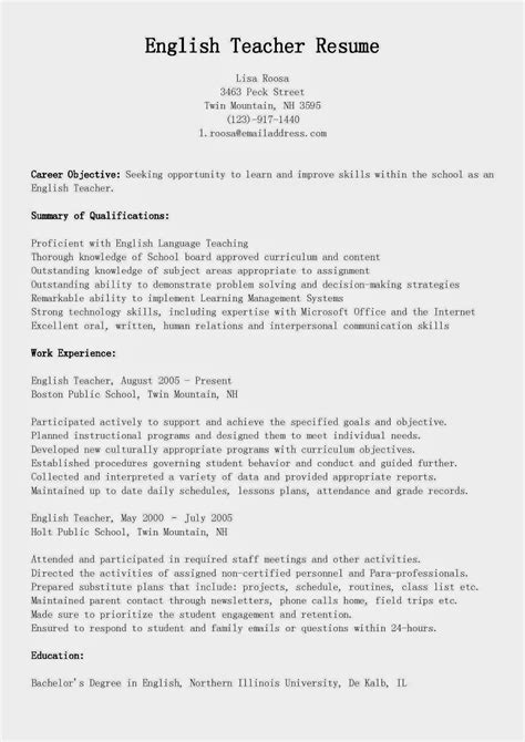 Resume Sample For Teacher by Resume Samples English Teacher Resume Sample