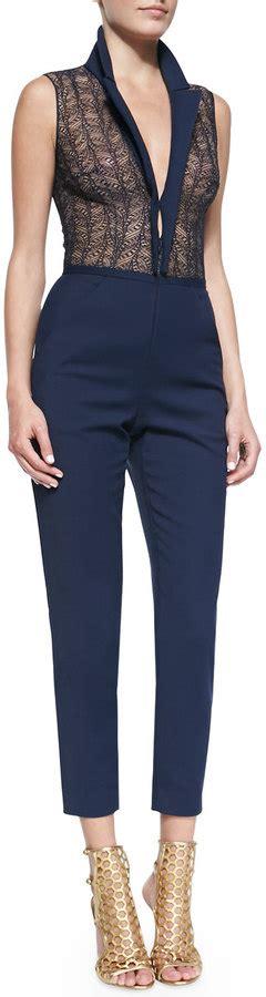 Jumpsuit Catton Navy Sabuk Belt tamara mellon sleeveless lace cotton jumpsuit navy where to buy how to wear