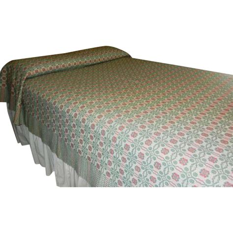 wool coverlet vintage reversible woven wool and linen double bed