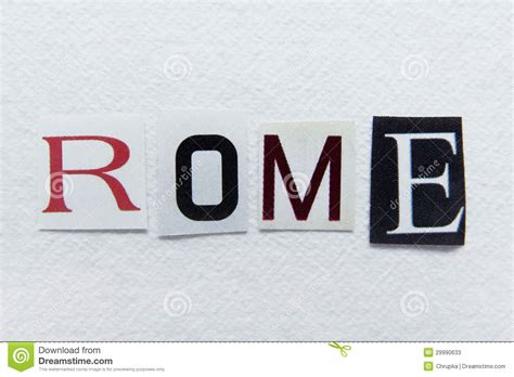 Is Handcrafted One Word - word rome cut from newspaper on handmade paper stock