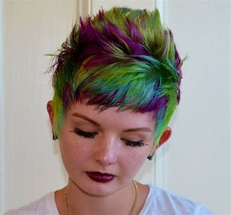 hair colouing and pixie green multi rainbow hair color on pixie cut hair
