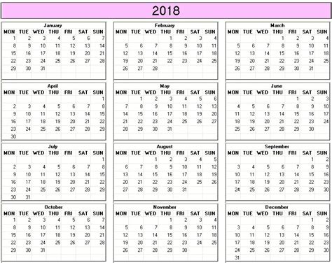 printable calendar 2018 in color yearly 2018 printable calendar color week starts on monday
