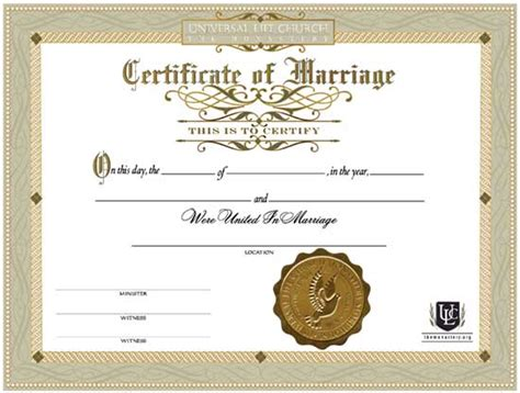 Records Of Marriage 72 Wedding Officiant Certificate Ordained