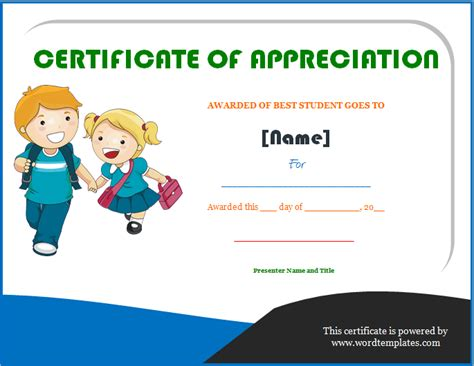 best student certificate template certificate of appreciation microsoft word templates