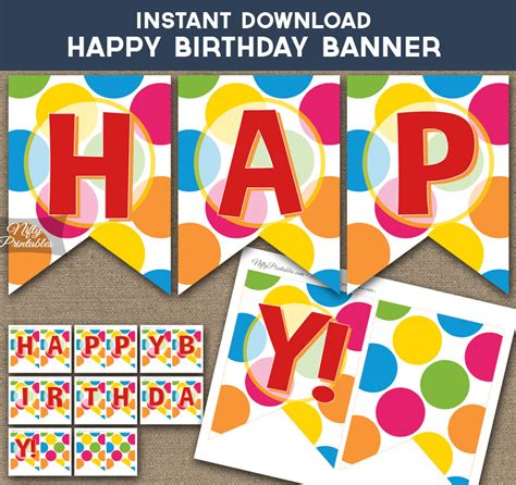 printable happy birthday banner colorful dots