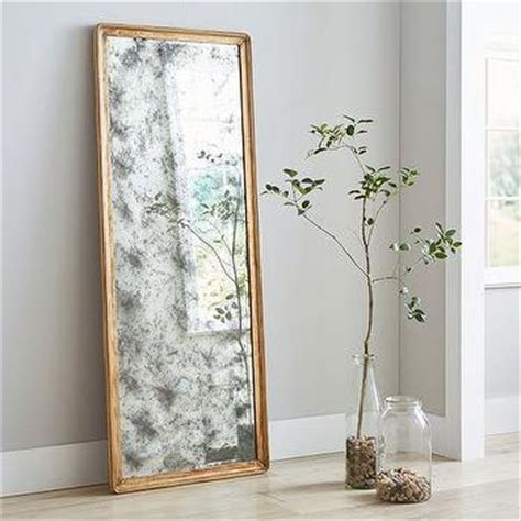 gold frame rectangle floor mirror
