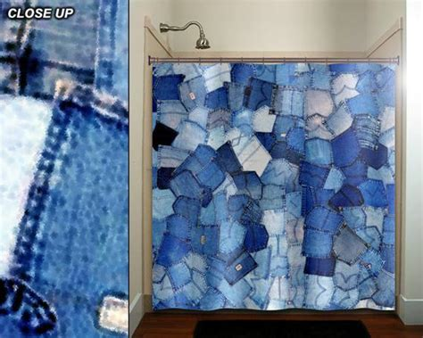 blue pockets denim jeans shower curtain bathroom decor