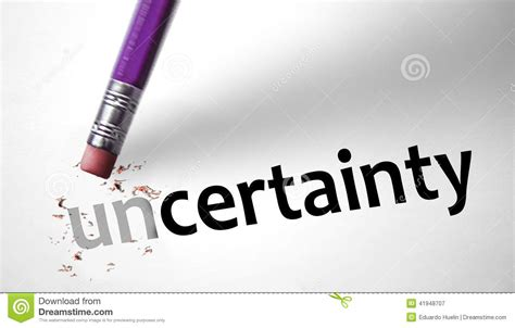 the certainty of and uncertainty of eraser changing the word uncertainty for certainty stock