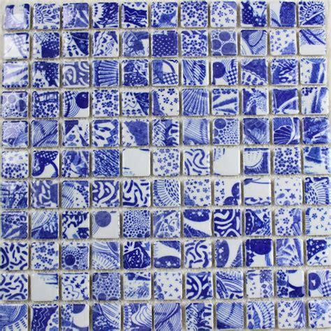 blue and white porcelain tile mosaic tiles ceramic porcelain tile snowflake style mosaic art design