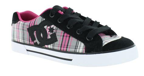 womens dc shoes chelsea canvas plaid black pink