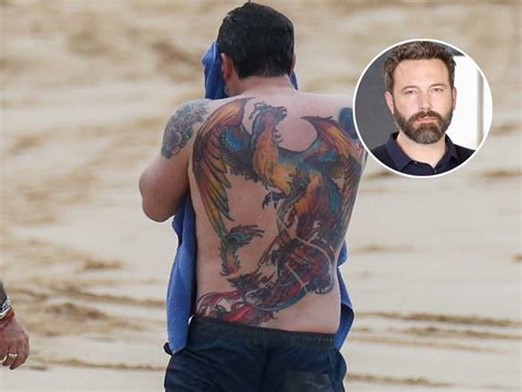 ben affleck s massive very real phoenix back tattoo gets