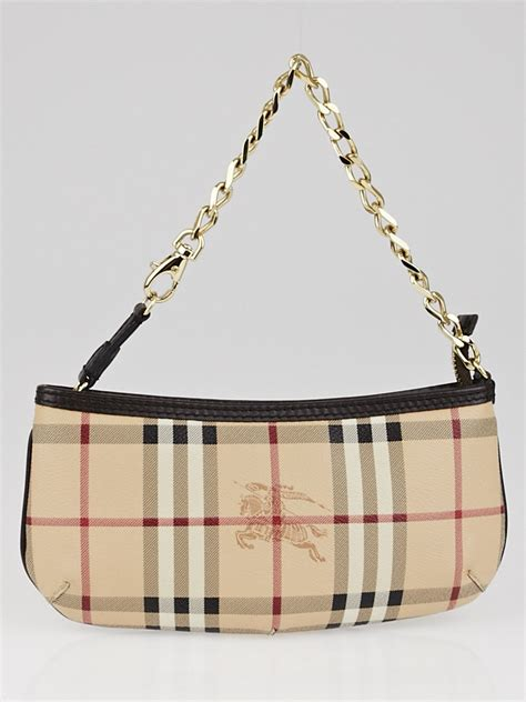 Burberry Wristlet by Burberry Chocolate Haymarket Check Coated Canvas Anabel