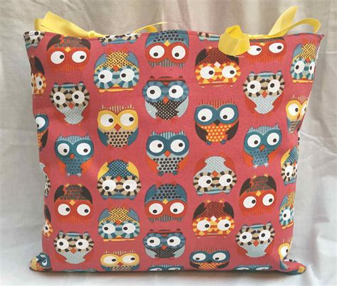 Handmade Soft Furnishings - colourful owl design cushion with bows handmade soft