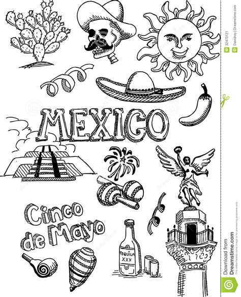 doodle 4 mexico mexico doodle stock vector image of jalape 241 o maracs