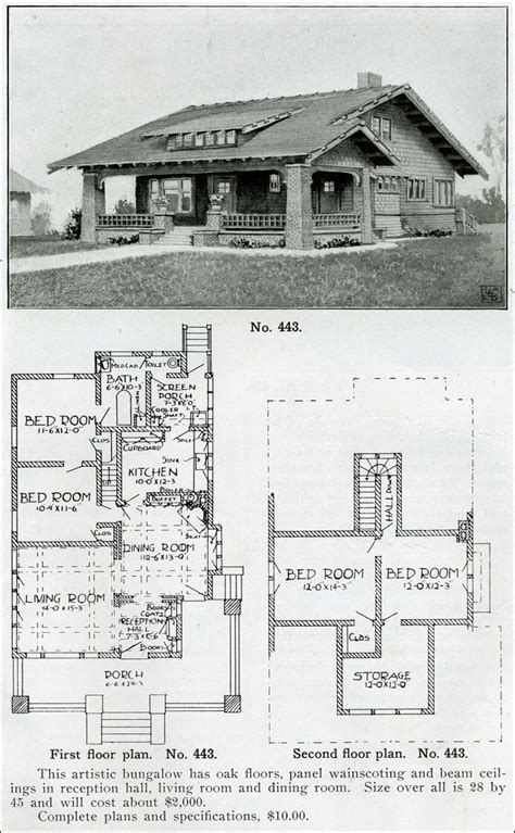 1910 house plans wrapped porch battered columns bungalow house plan