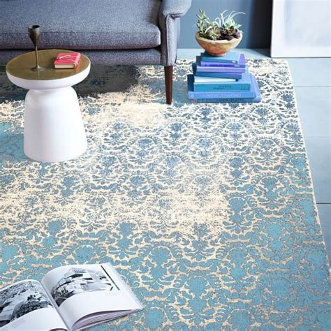 distressed rug distressed damask wool rug blue lagoon west elm