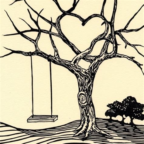 heart tree tattoo grows 6x9 valentines letterpress linocut tree