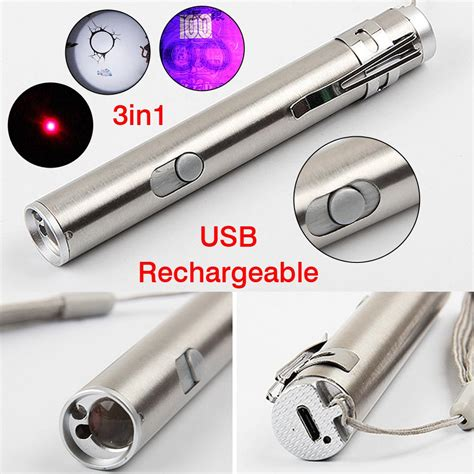 rechargeable led pen light 3 in1 mini multifunction usb rechargeable led laser uv