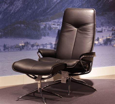Stressless City Recliner by Stressless City High Back Black Leather By Ekornes
