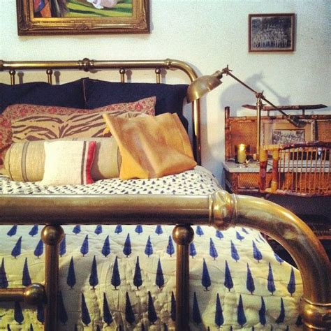 Hollister Bedroom Themes Navy Blue And White Bedding Brass Bed White Walls Boho