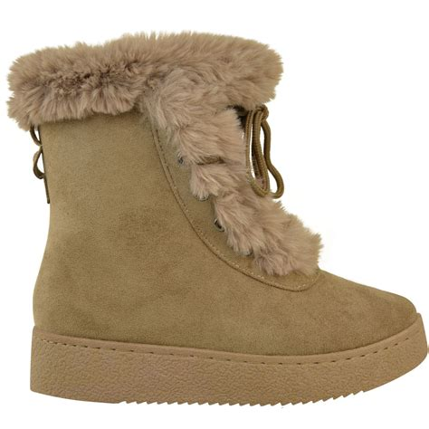 Faux Fur Boots womens flat faux fur lining winter bow ankle boots