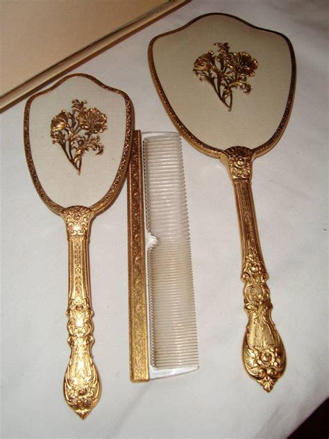Brush And Mirror Vanity Set by Vintage Mirror Brush Comb Vanity Set Quot Matson Quot 24kt Gold Plated Never Used Pretty Ebay