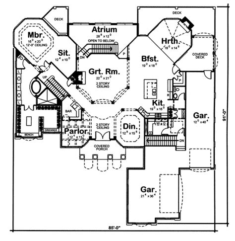 2 Story Great Room House Plans by Octagonal Two Story Great Room 62461dj 1st Floor
